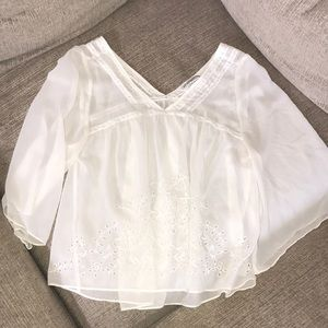 Sheer white lace A&F top